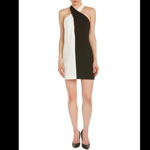Halston Heritage Twist Halter Colorblock Dress